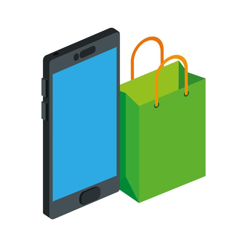 tas winkelen met smartphone geïsoleerd pictogram vector