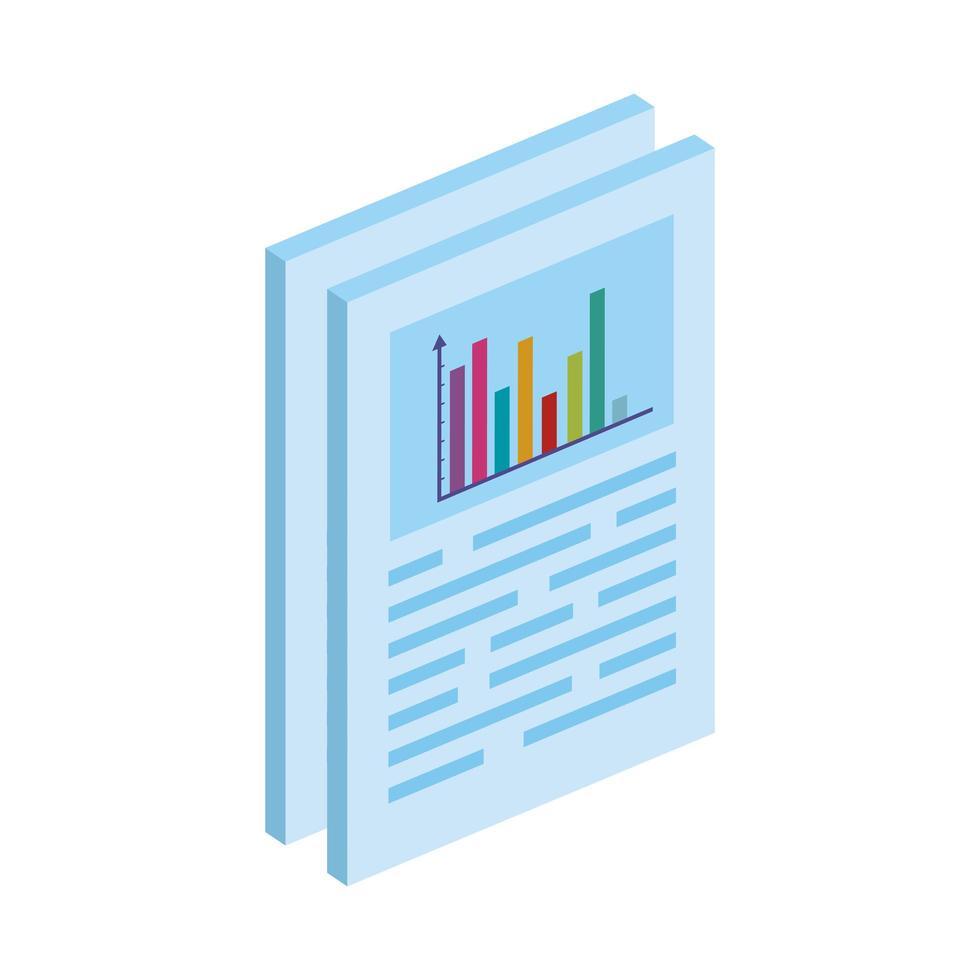 documenten met geïsoleerde staafdiagram pictogram vector