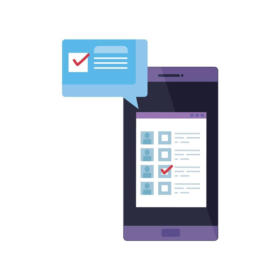 smartphone om online te stemmen met tekstballon vector