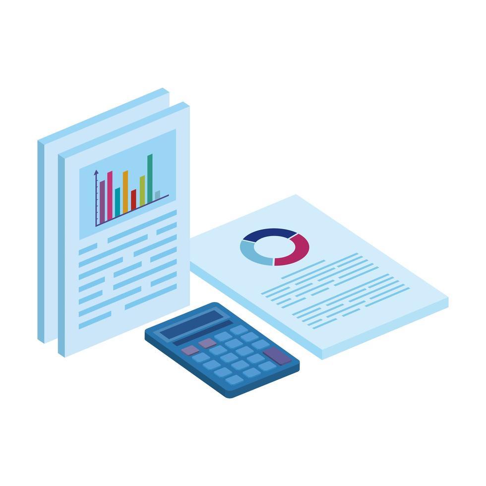 rekenmachine wiskunde en documenten met infographic vector