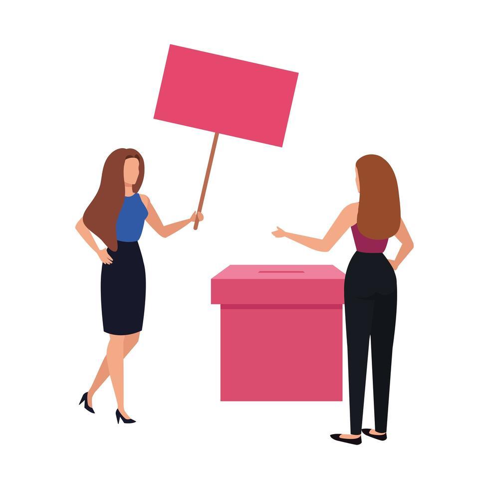 zakelijke vrouwen met geïsoleerde stembus pictogram vector