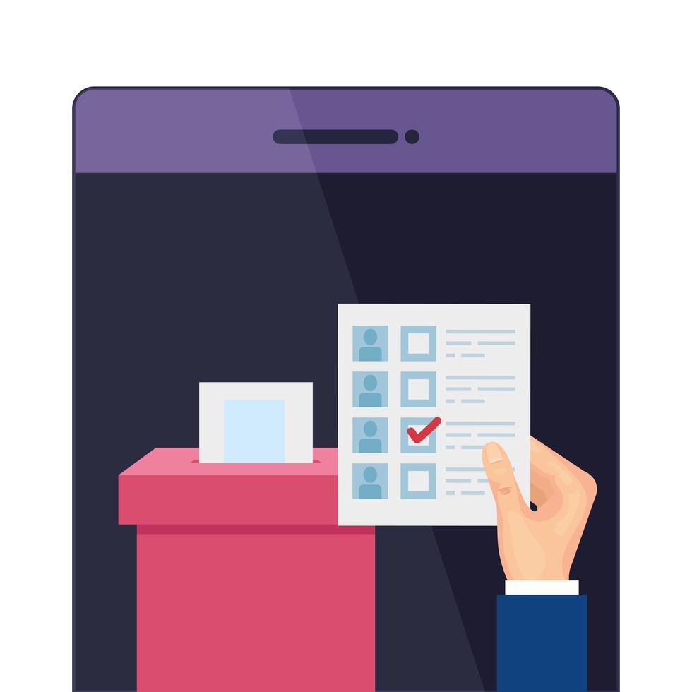 smartphone voor stem online geïsoleerd pictogram vector