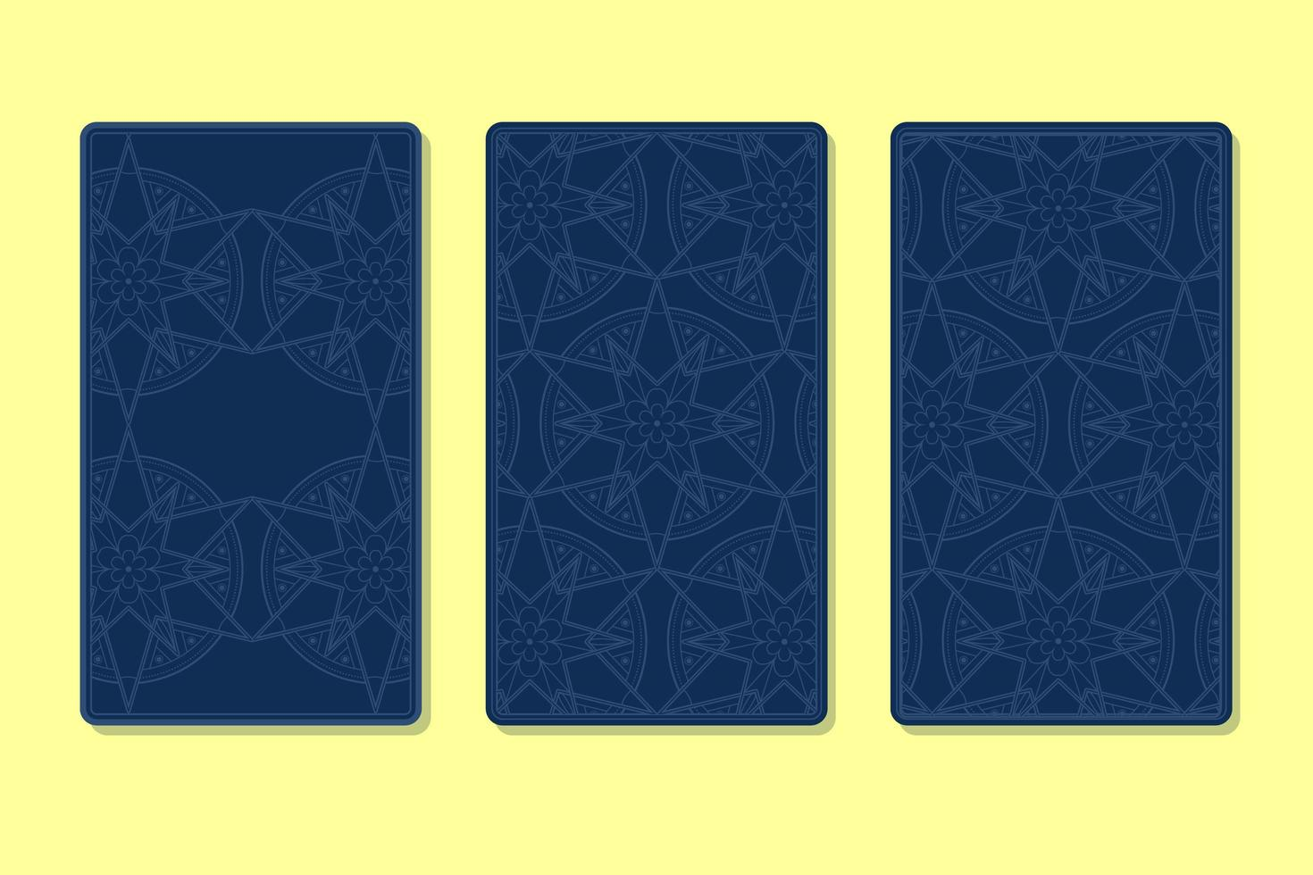 achterkant van tarotkaarten versierd met decoratieve afbeeldingen vector