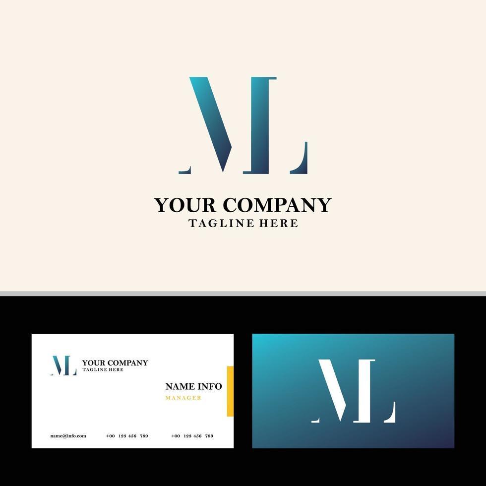 creatieve monogram letter ml, lm logo en visitekaartje set vector