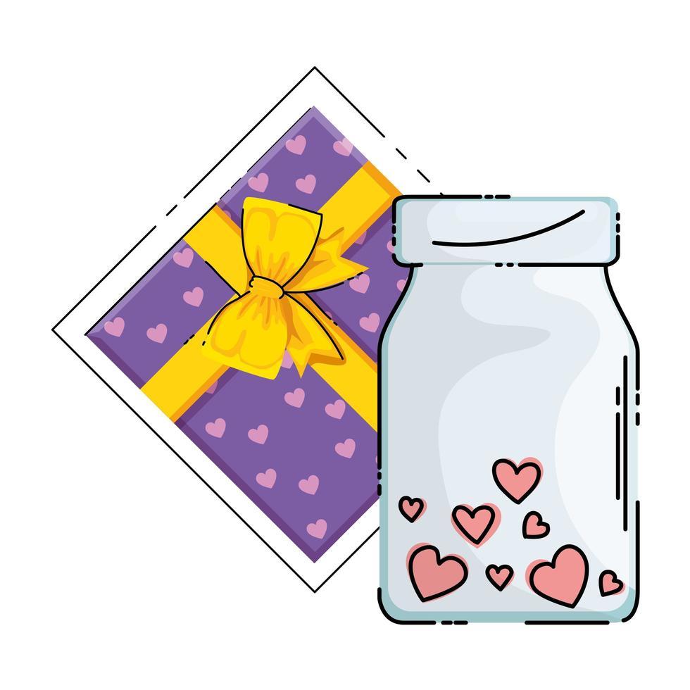 cadeau en fles met hart geïsoleerd pictogram vector