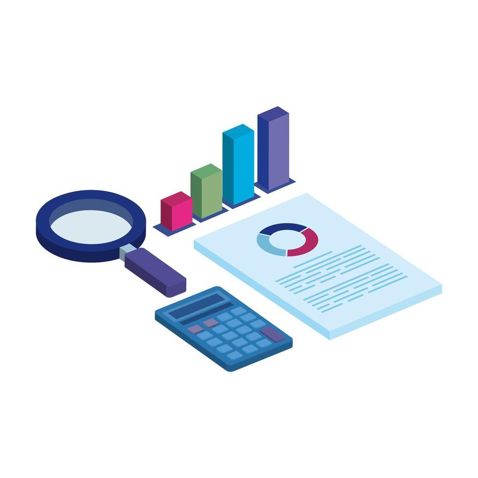 staven statistisch met vergrootglas en pictogrammen vector