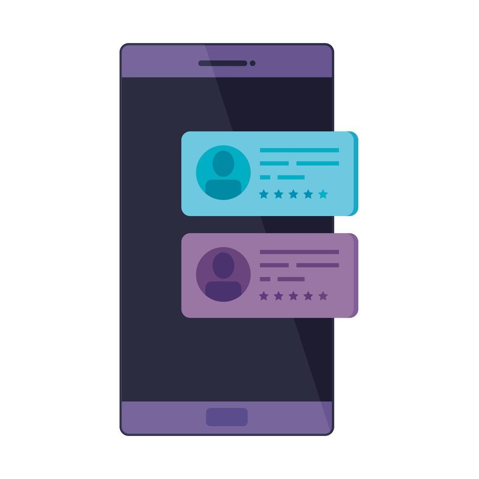smartphoneapparaat met tekstballonnen vector