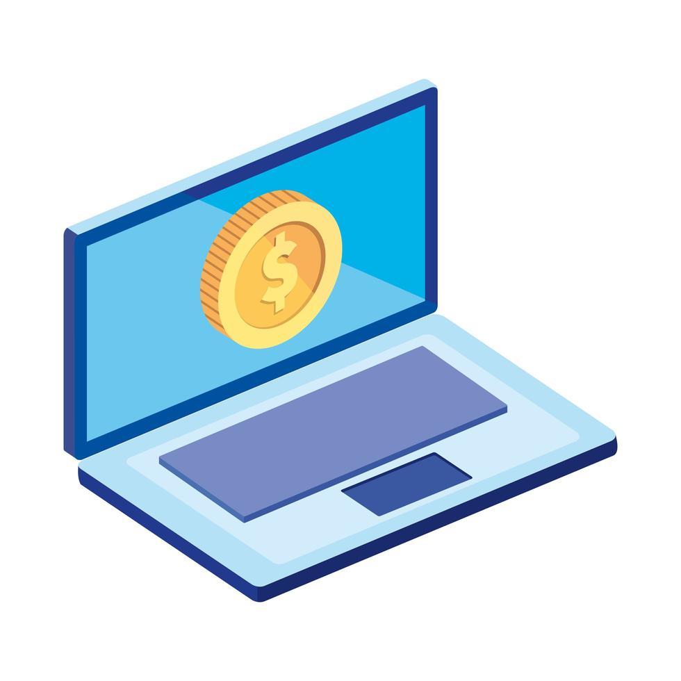 laptop computer met geïsoleerde munt pictogram vector