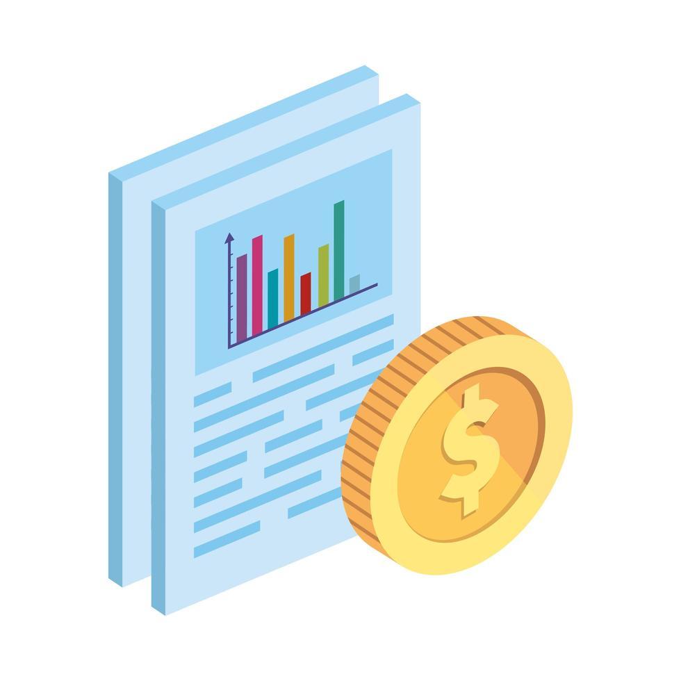 documenten met statistische staven en munten vector