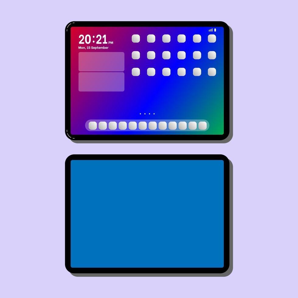 nieuwe tablet eenvoudige kunst vector illlustration