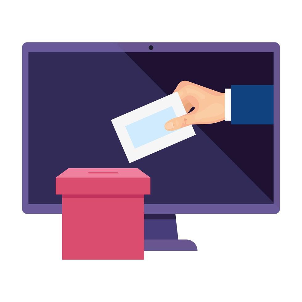 computer om online te stemmen met stembus en hand vector
