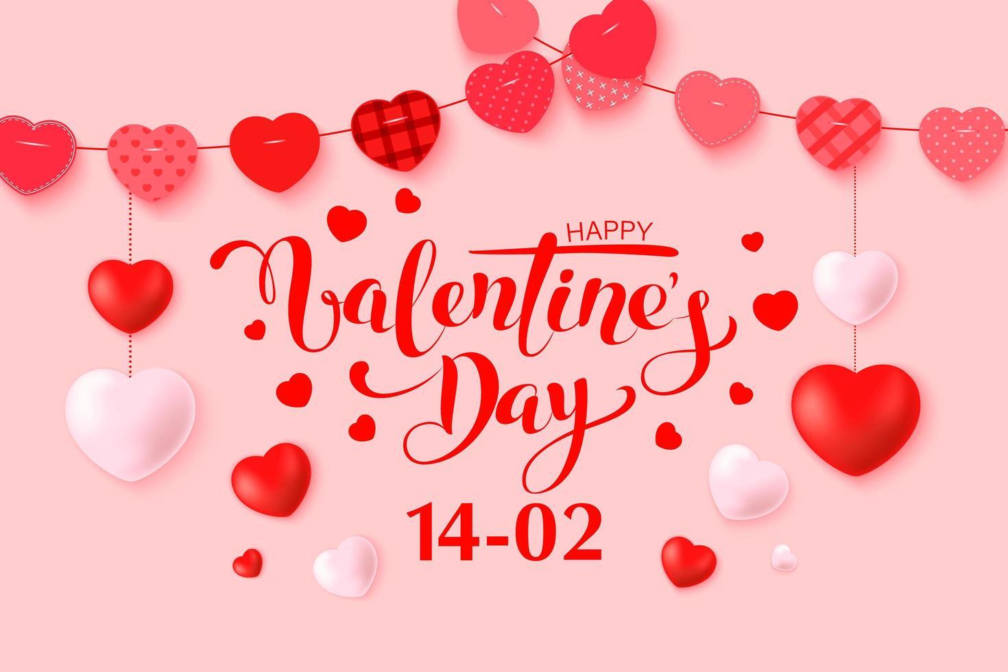 happy Valentijnsdag wenskaart ontwerp met frame vector