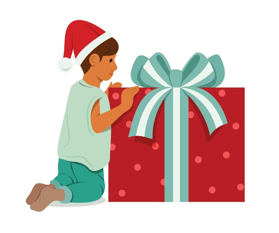 jongen met een grote doos met cadeautjes. vector