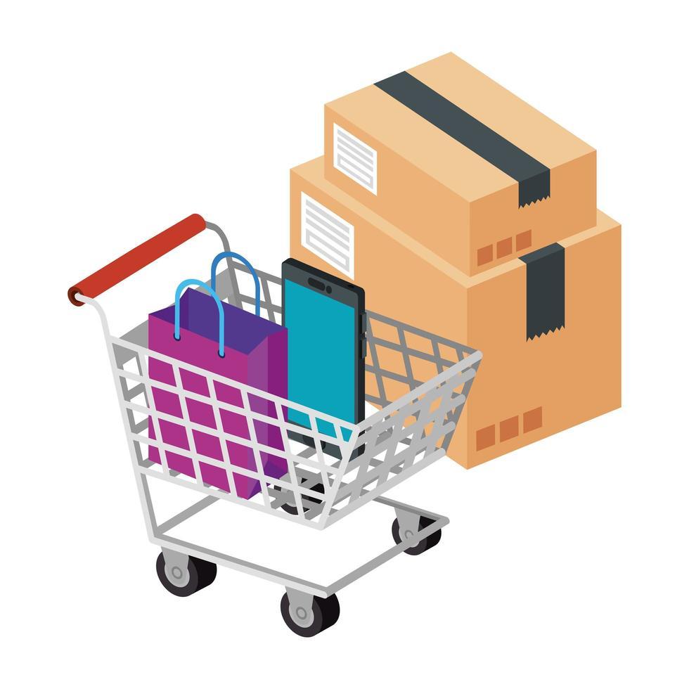 box-pakket met winkelwagentje en pictogrammen vector