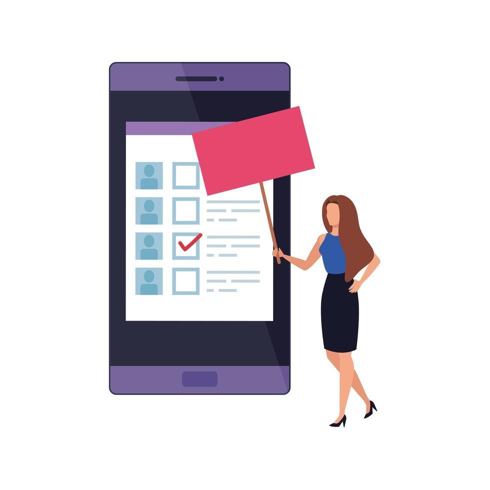 zakenvrouw met smartphone om online te stemmen vector