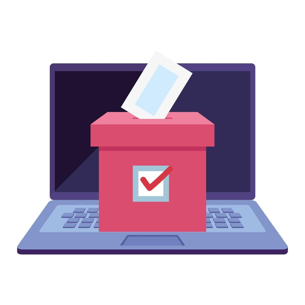 laptop om online te stemmen met stembus vector