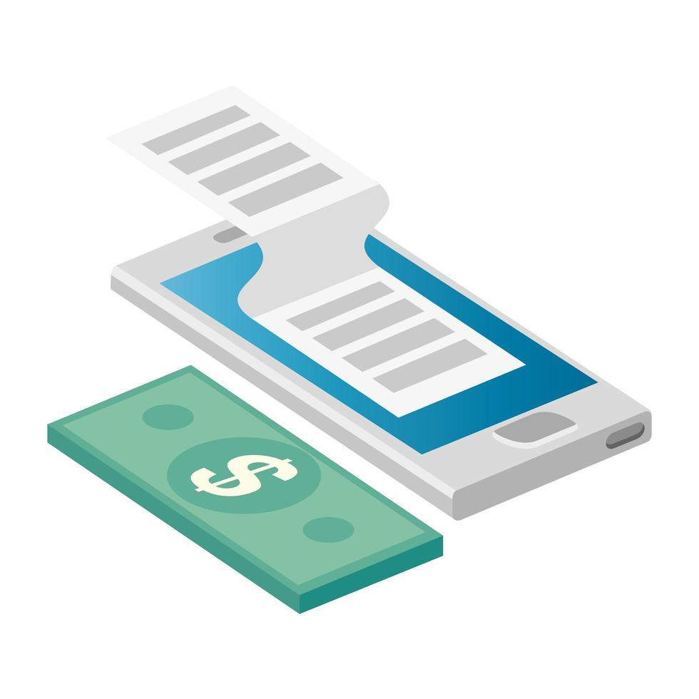 smartphone met factuurgeld en bon vector