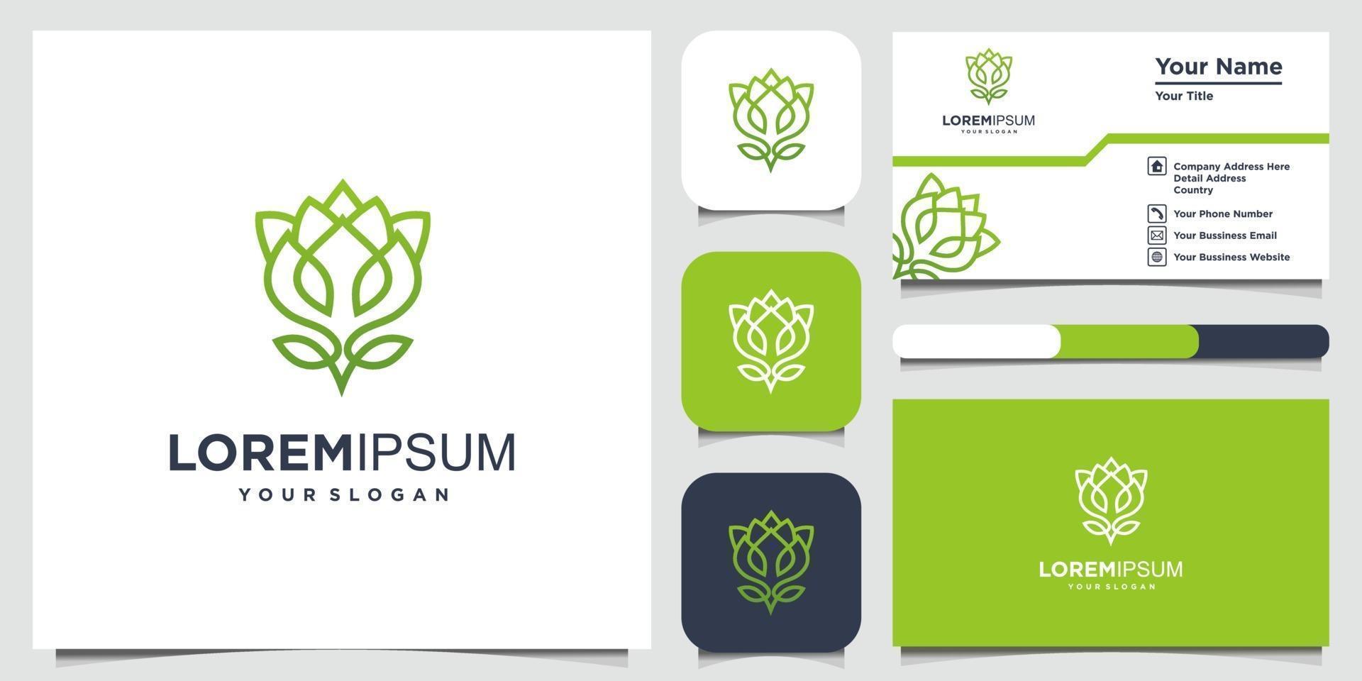 bloemlogo-ontwerp met lijnstijl en visitekaartje vector