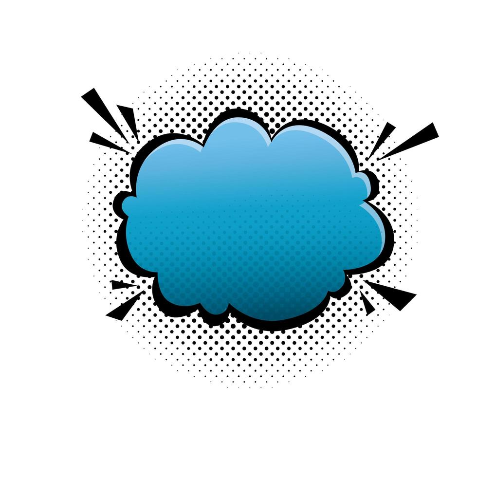 wolk blauwe kleur popart stijlicoon vector