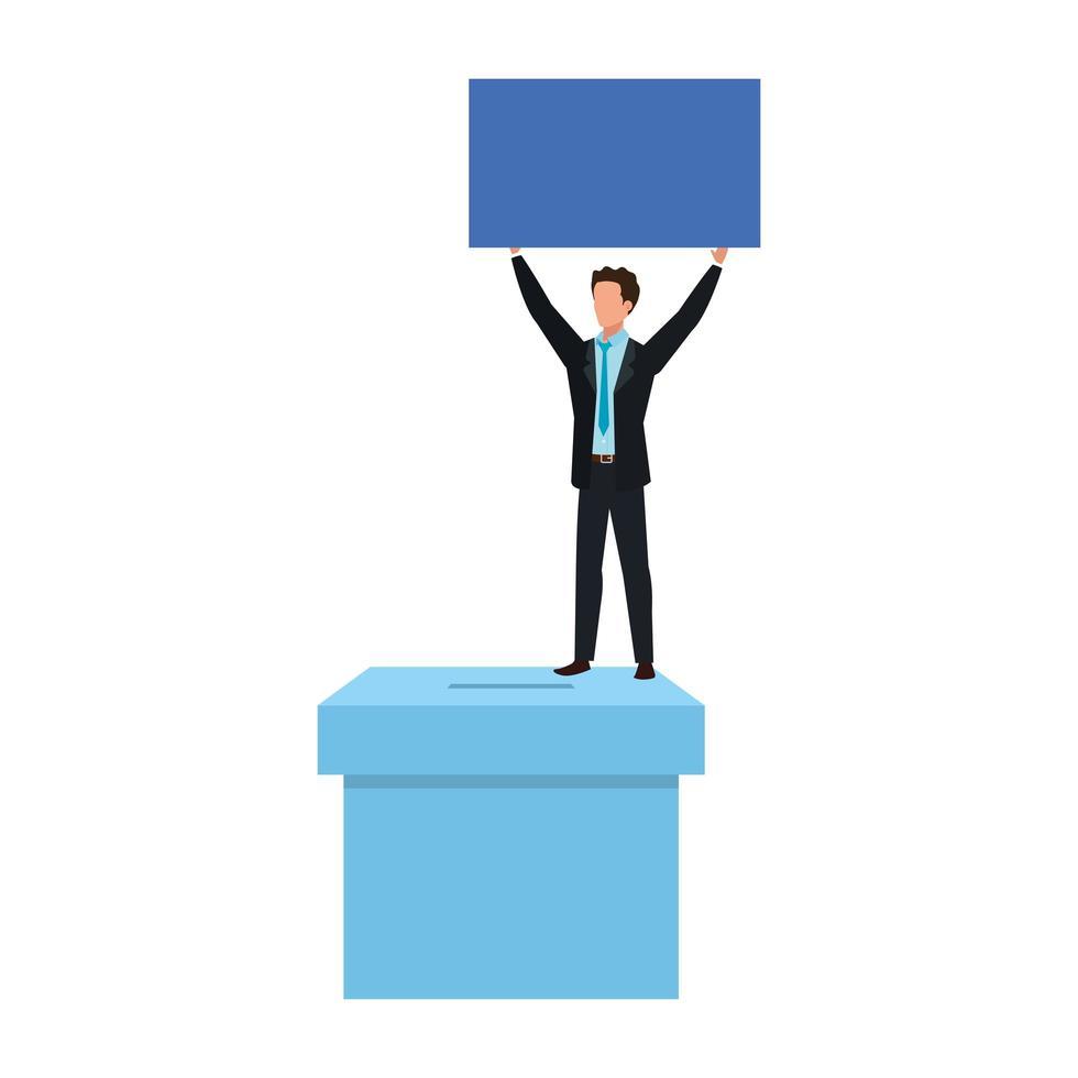 zakenman met stembus doos geïsoleerd pictogram vector