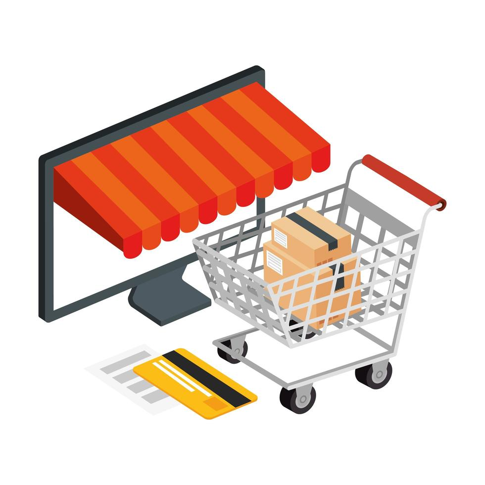 winkelwagen winkelen en computer met pictogrammen vector
