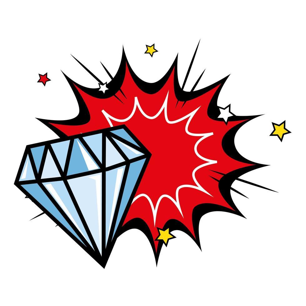 diamant met explosie popart stijlicoon vector