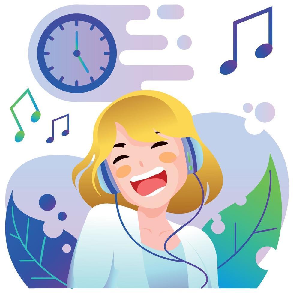jong meisje luisteren naar muziek vector