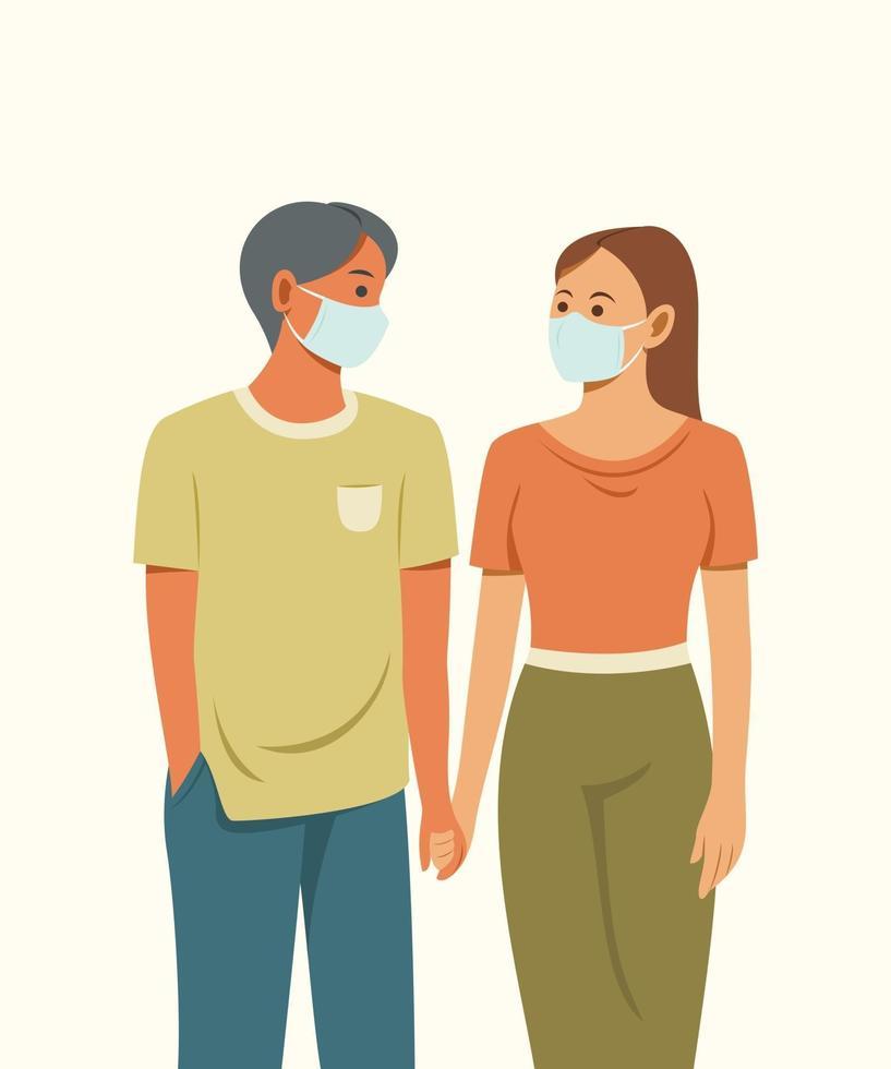 de geliefden dragen een masker om de gezondheid te beschermen. vector