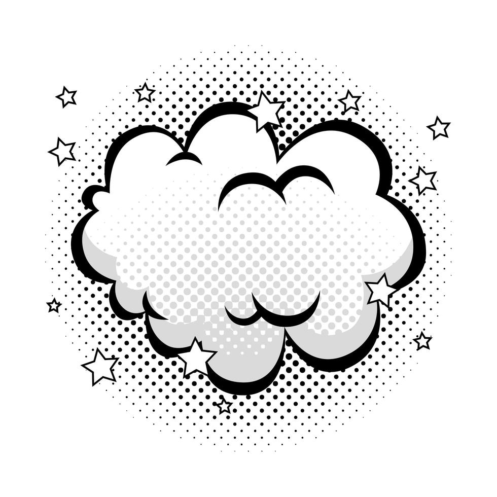 wolk met sterren pop-art stijlicoon vector