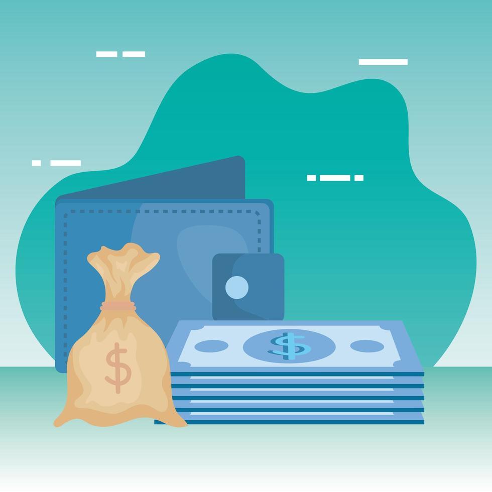 rekeningen geld dollars met portemonnee en zak vector