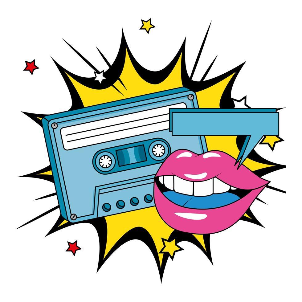 cassette uit de jaren negentig met lippen in explosie pop art vector