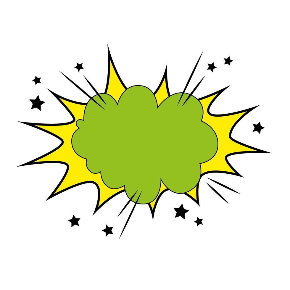 explosie groene kleur en sterren pop-art stijlicoon vector