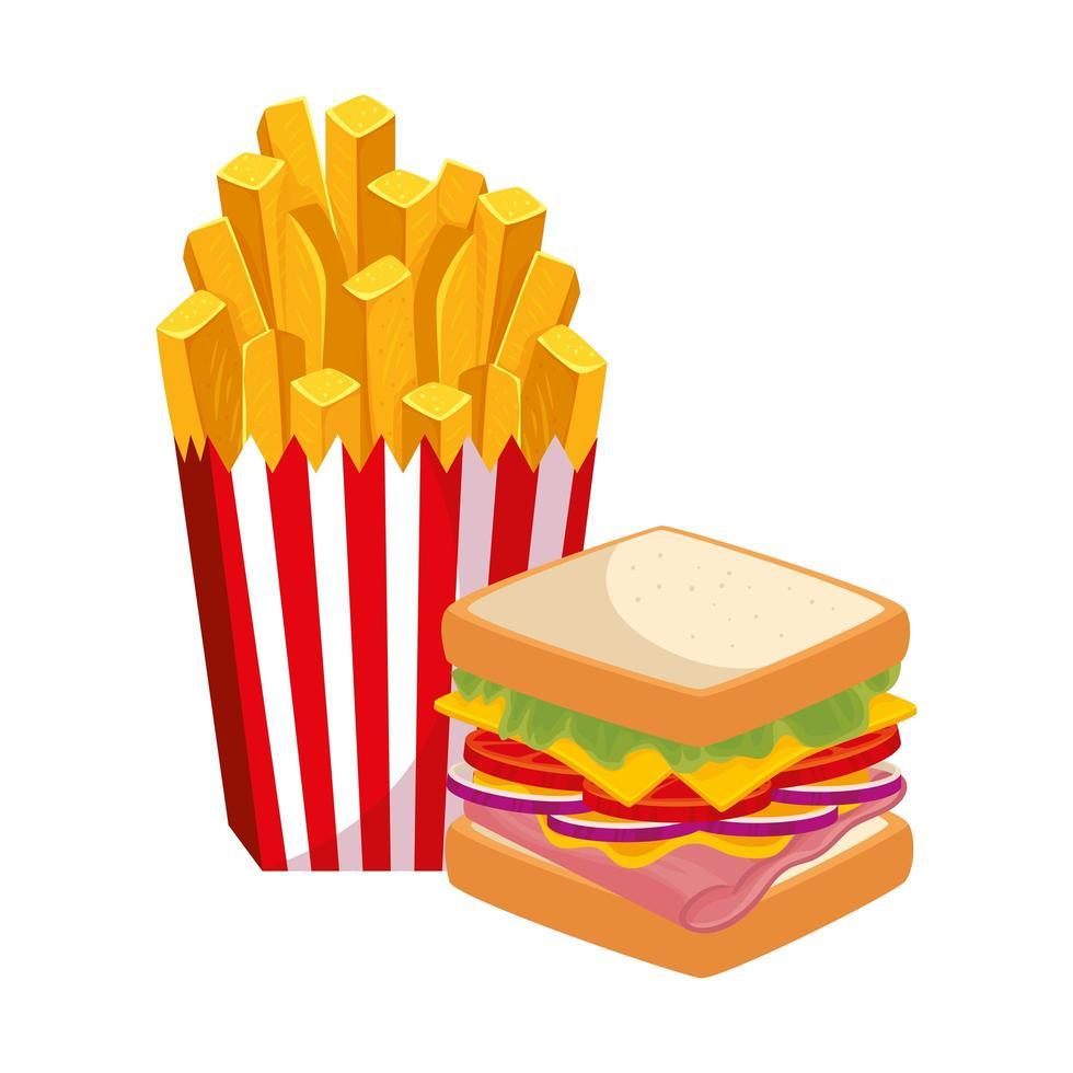 heerlijke sandwich met frietjes eten geïsoleerde pictogram vector