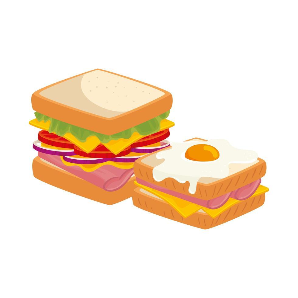 heerlijke sandwiches met ei gebakken geïsoleerde pictogram vector