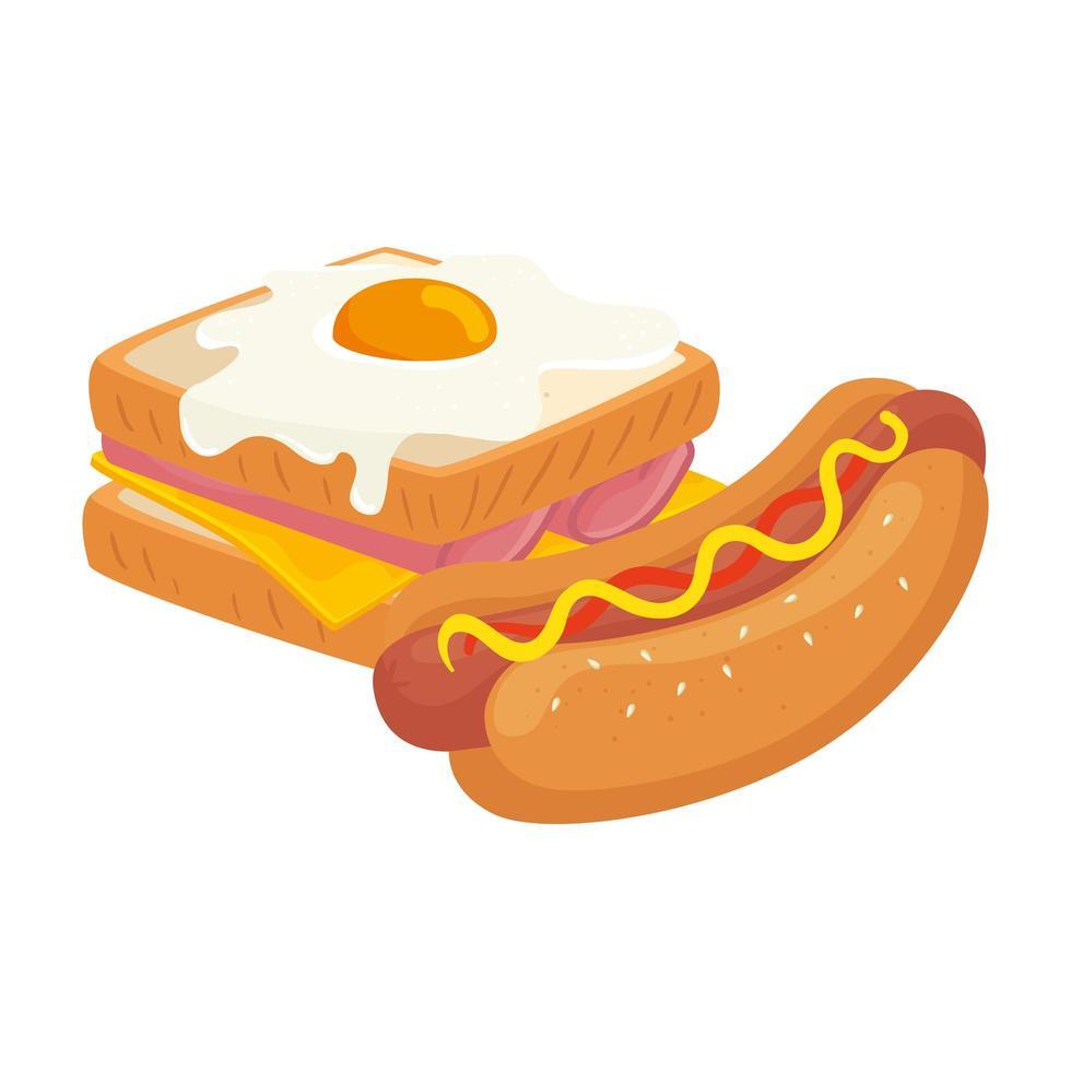 heerlijke sandwich met gebakken ei en hotdog geïsoleerde pictogram vector