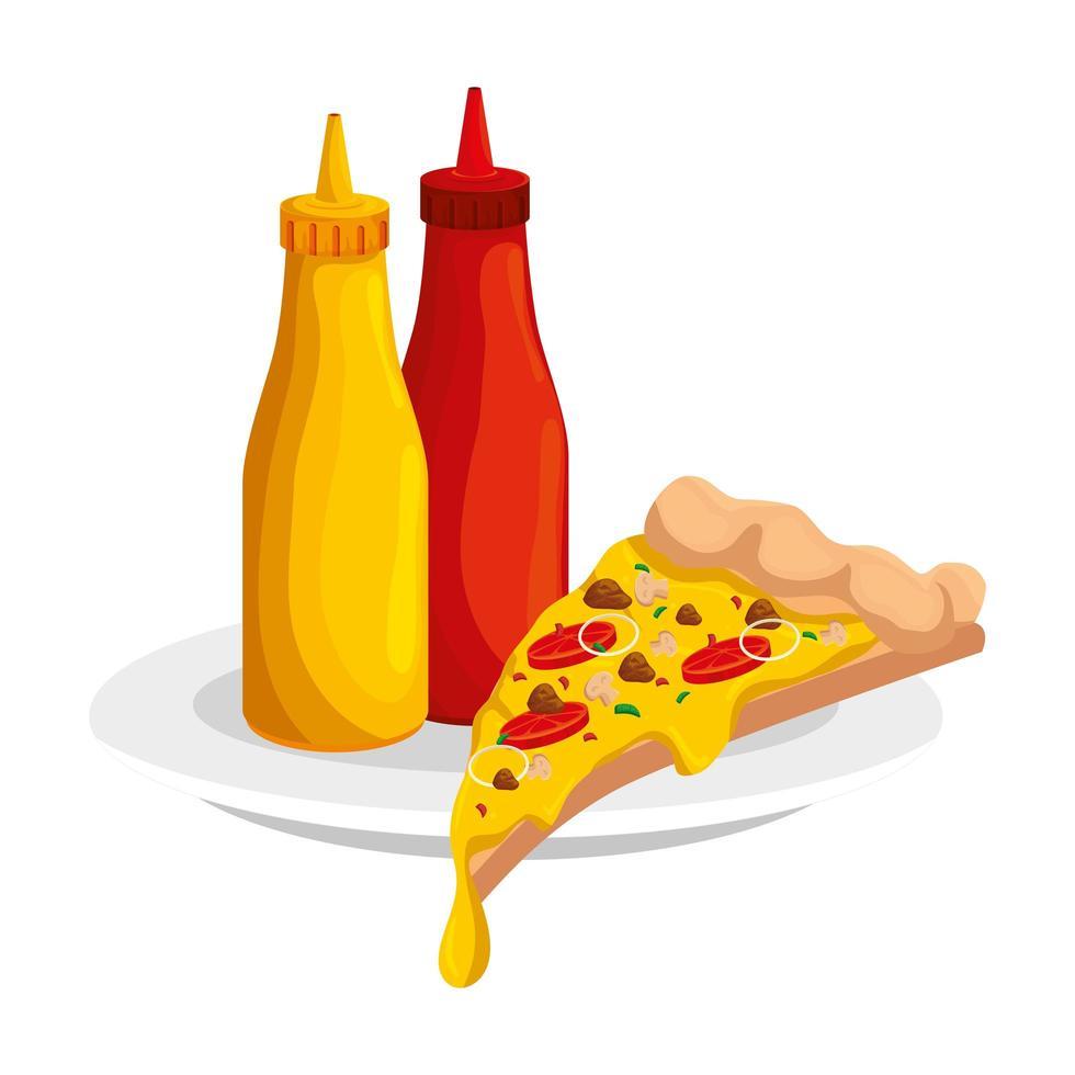 heerlijke Italiaanse pizza met flessen sauzen fastfood pictogram vector