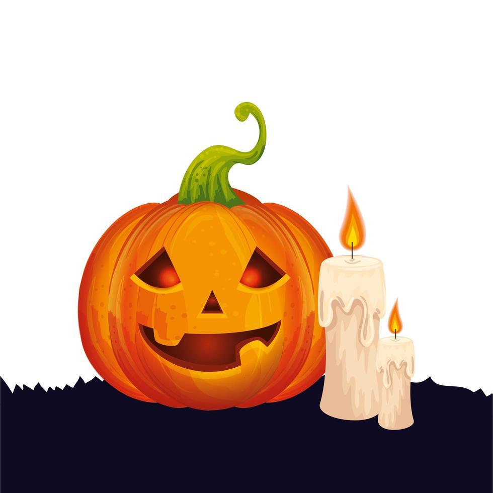 Halloween pompoen met kaarsen geïsoleerde pictogram vector