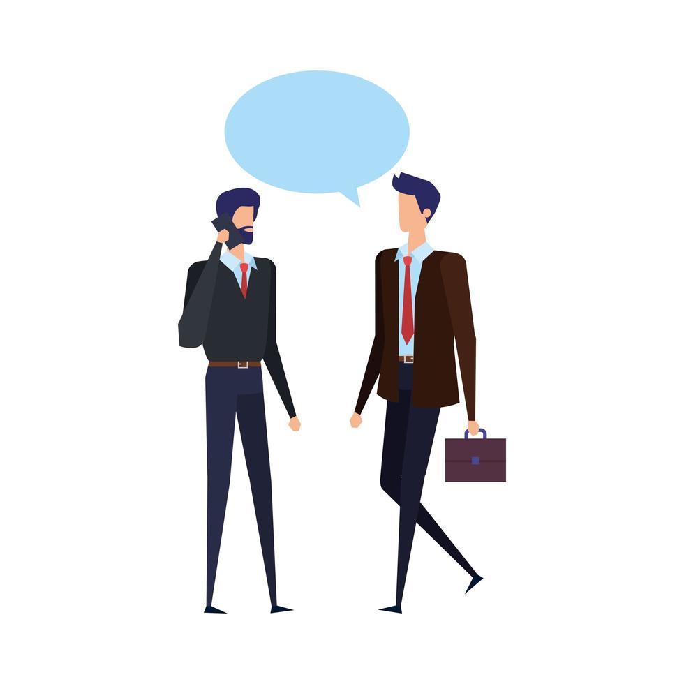 zakenlieden bellen met mobiele telefoons en tekstballonnen vector