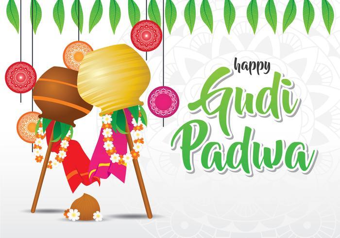 Gudi Padwa viering achtergrond vector
