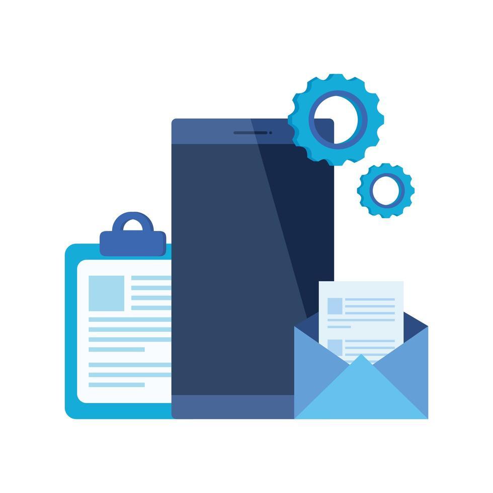 smartphoneapparaat met envelop e-mail vector