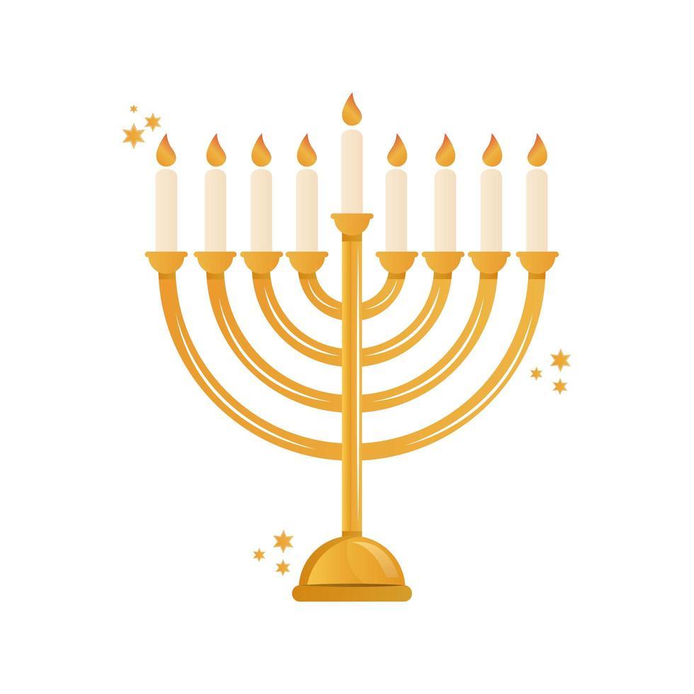 gouden kroonluchter decoratief met geïsoleerde kaarsenpictogram vector