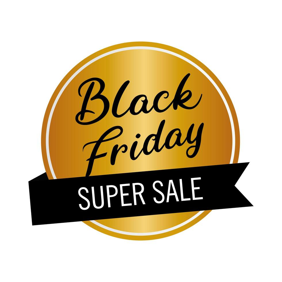zwarte vrijdag verkoop belettering in gouden ronde stempel en lint vector