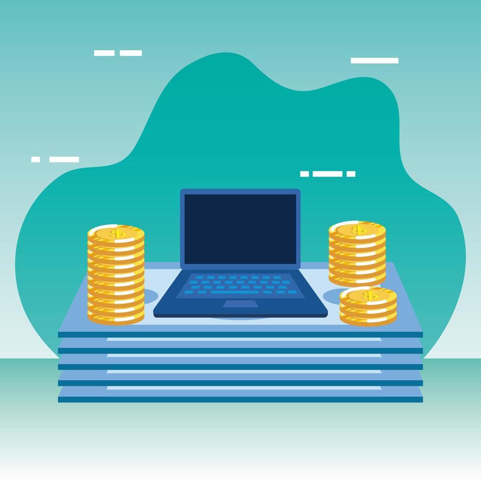 munten en rekeningen geld dollars met laptop vector