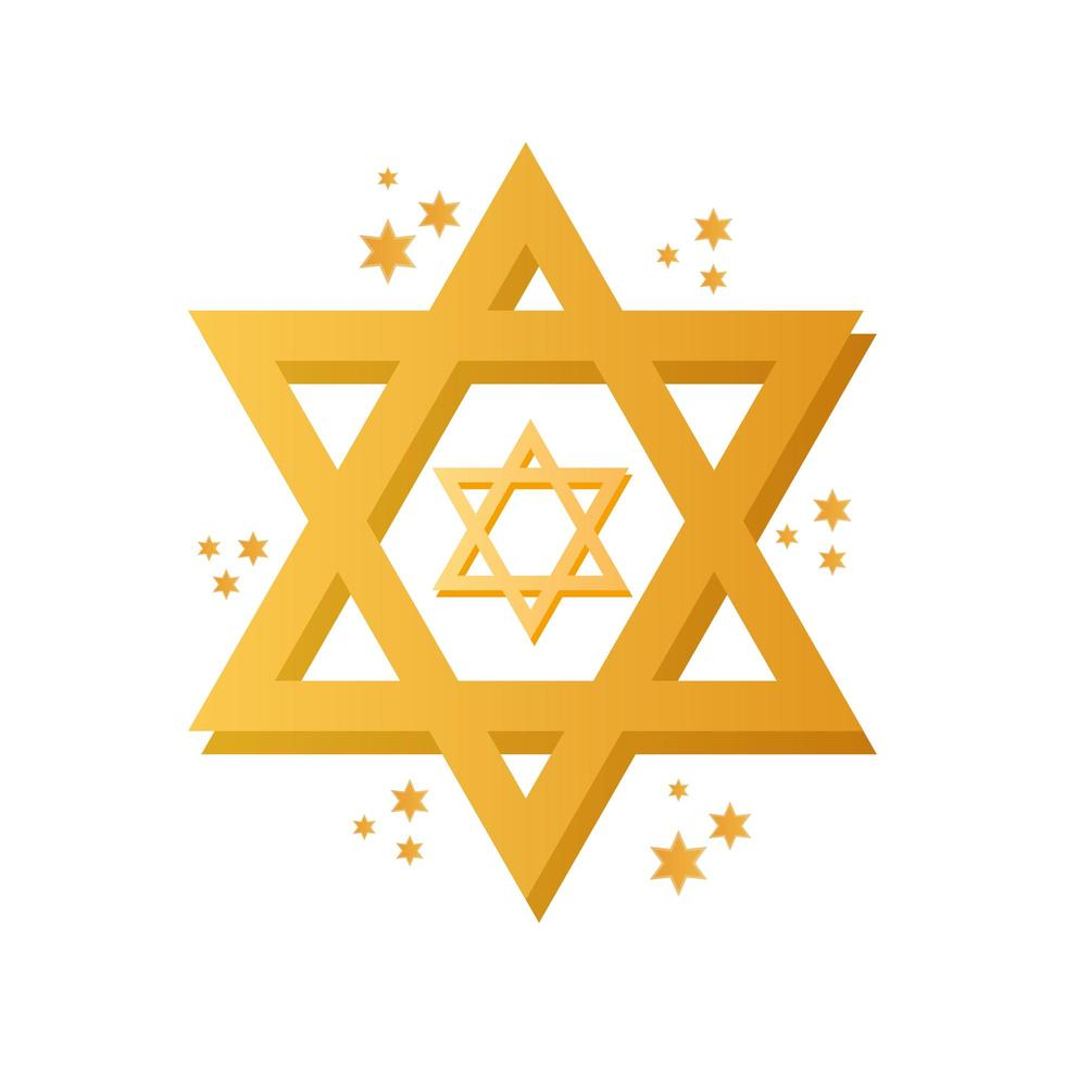 Chanoeka joodse ster viering pictogram vector