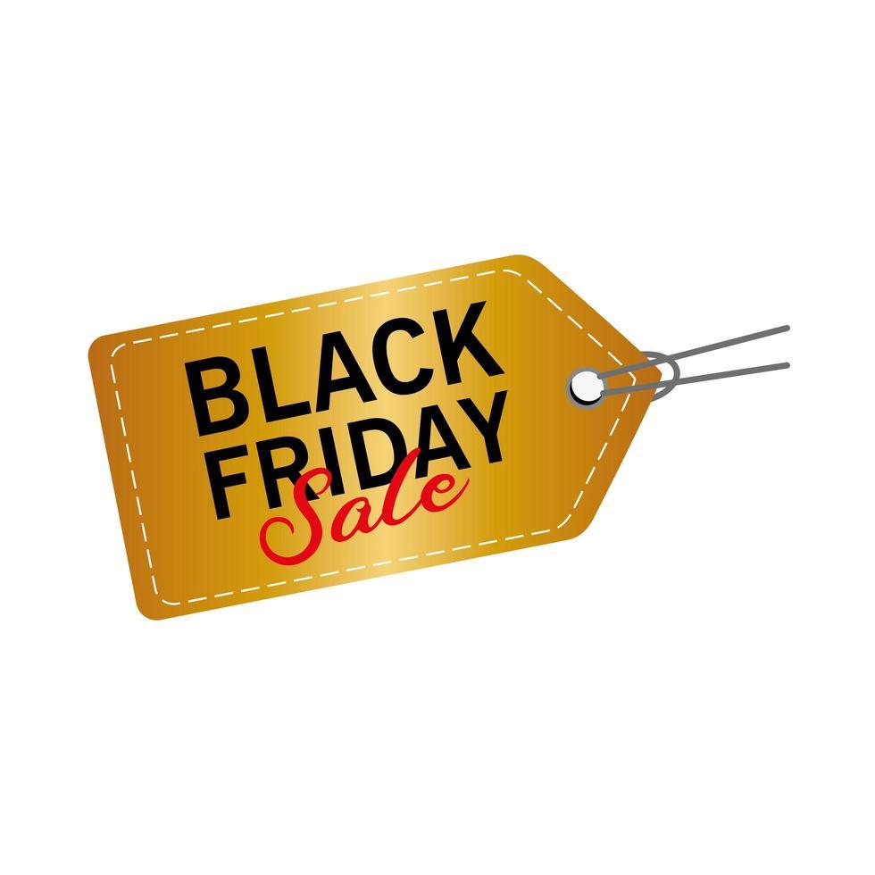 zwarte vrijdag verkoop belettering in gouden tag vector