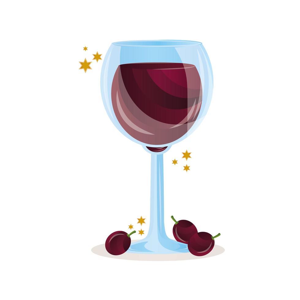 wijn beker met druiven pictogram vector