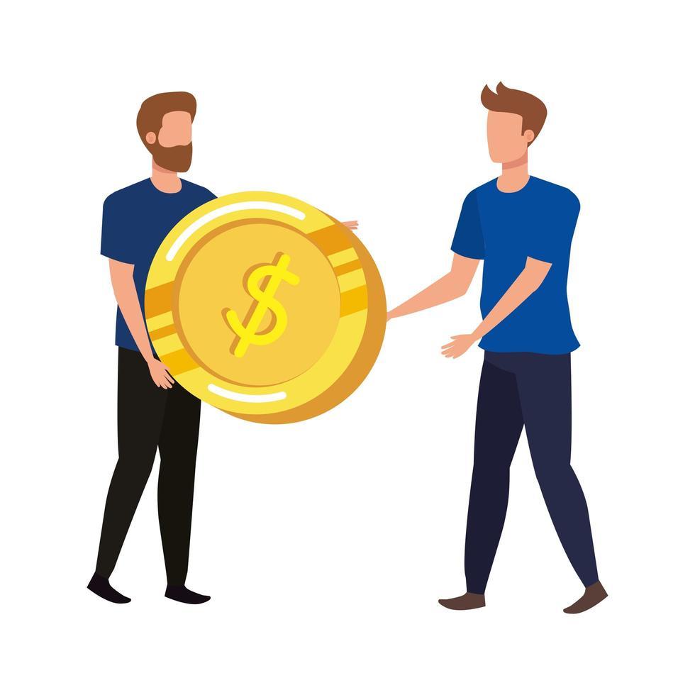jonge mannen met munten dollar tekens vector