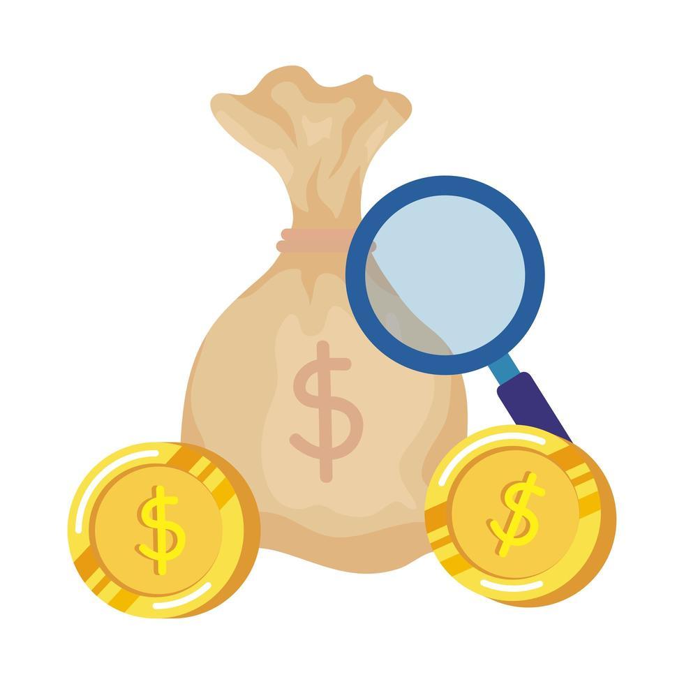 geldzak met munten en vergrootglas vector