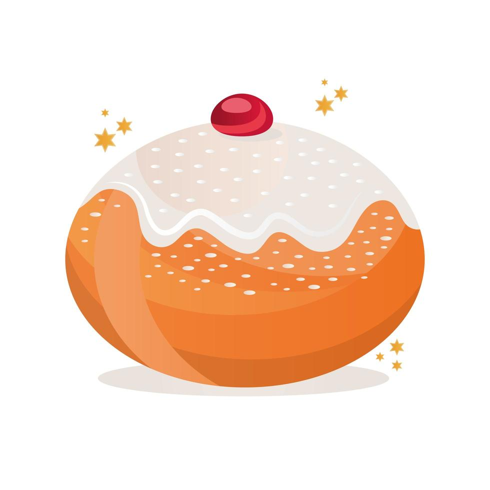 Joodse zoete donut heerlijk pictogram vector