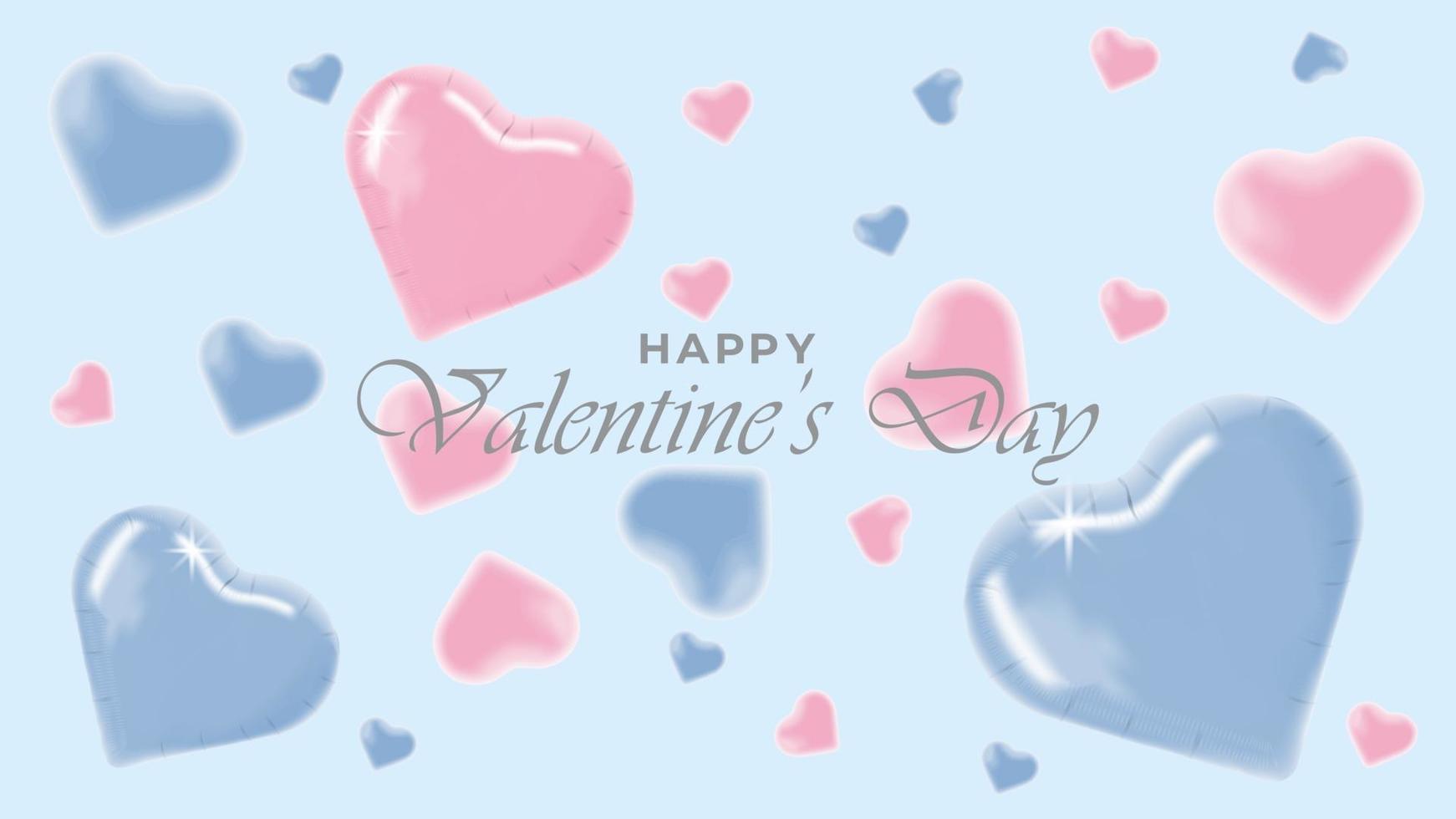 gelukkige valentijnsdag achtergrond met realistische decoratieve ontwerpobjecten vector